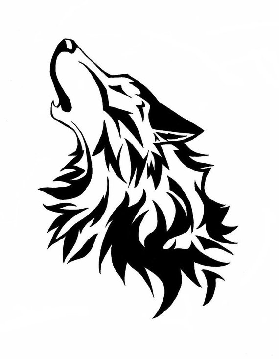 White Wolf clipart stencil art Wolf Howling (for Tattoo body)