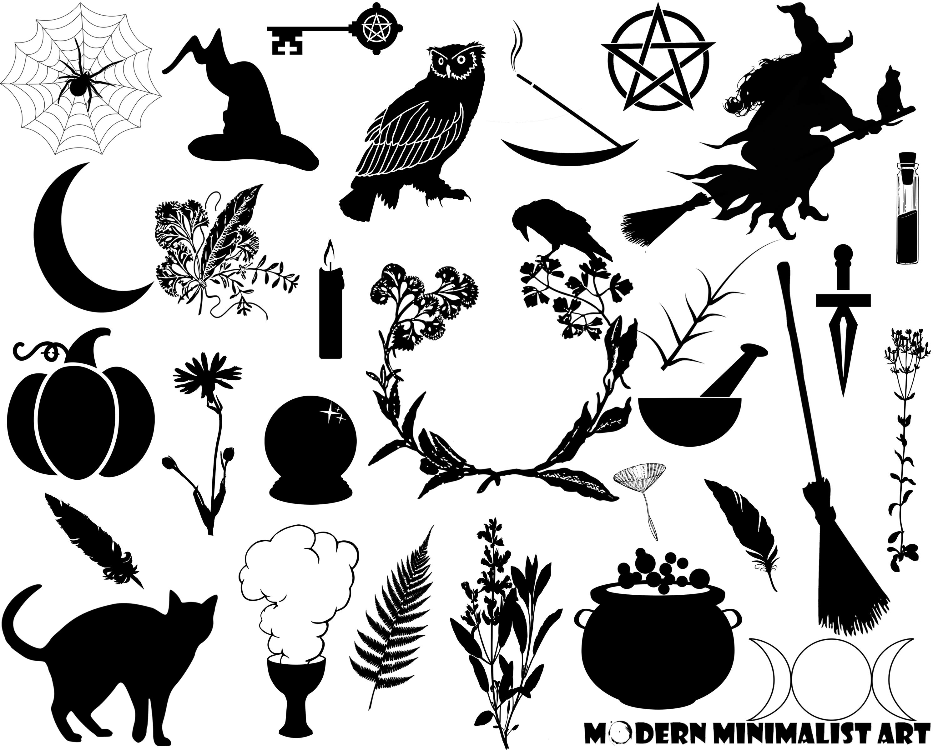 Witch clipart broom silhouette Wicca Clipart Witches Herb Clipart
