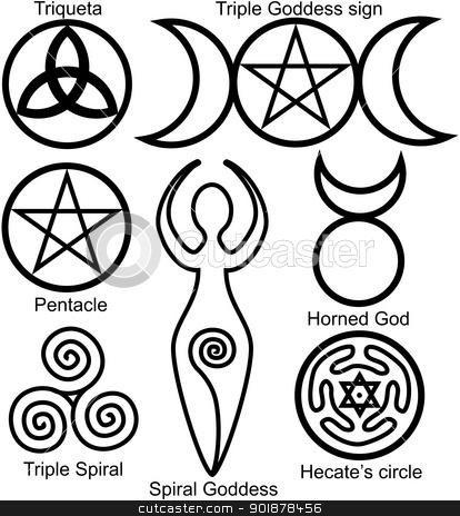 Wiccan clipart simple Wiccan Set symbols vector Set