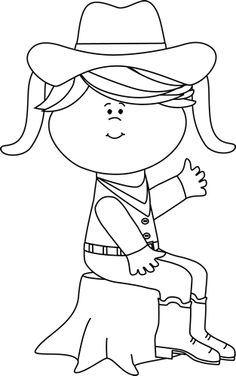 Cowgirl clipart black and white Tree Printables Black Sitting and