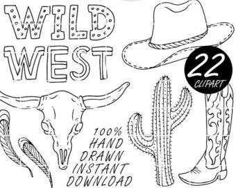 Wild West clipart cactus Wanted art Clipart hat Black