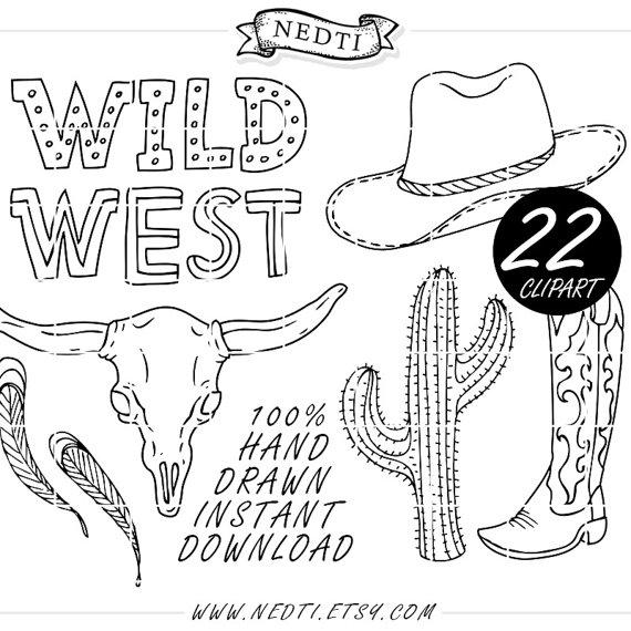 Wild West clipart cactus Wanted Clip art Clipart Cactus