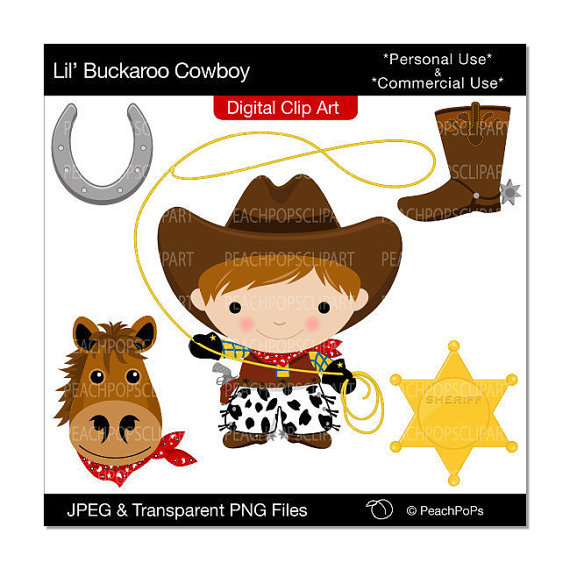 Wild West clipart cowboy horse West digital boy clipart