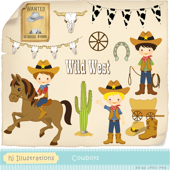 Western clipart wanted Cowgirl West Wild Illustrations: HJ