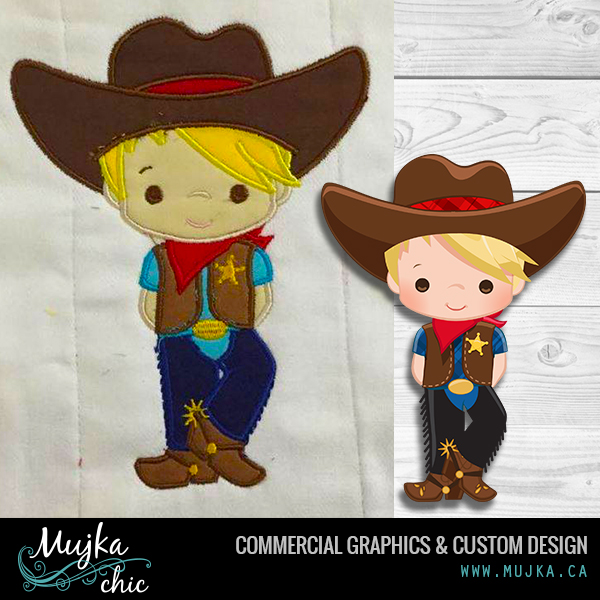 Wild West clipart cute cowboy EMBROIDERY Cowboy 2 WILD APPLIQUE