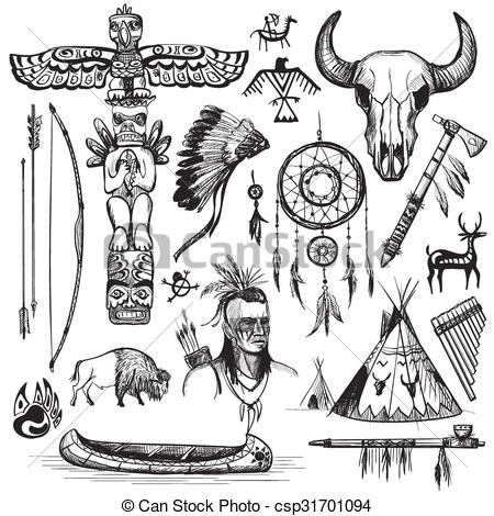 Wild West clipart indian Indian Set designed csp31701094 EPS