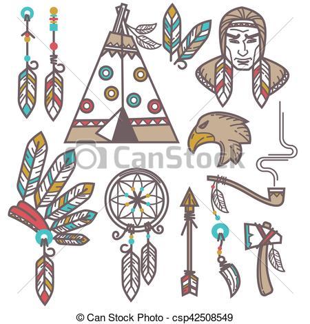 Wild West clipart indian Indian Set designed csp42508549 EPS