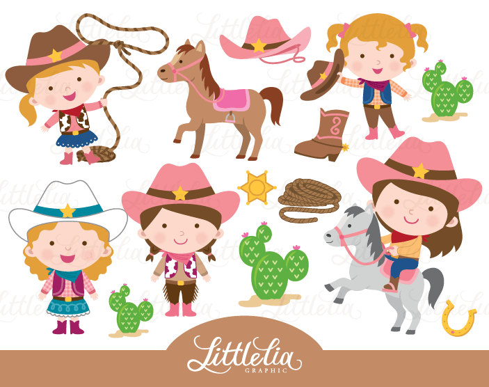 Wild West clipart kid Digital 15028 cowgirl  a