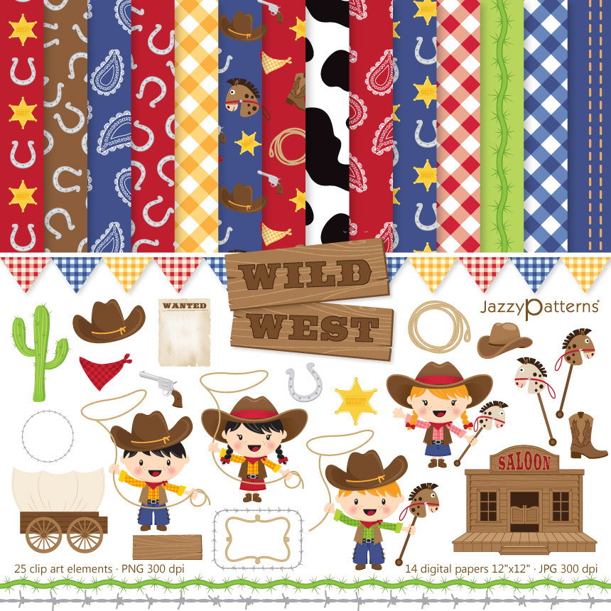 Western clipart little cowboy Wild for papers instant scrapbooking
