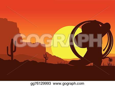 Wild West clipart mountain Vector vector sunset cowboy west