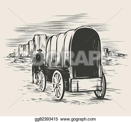 Wild West clipart pioneer wagon #12