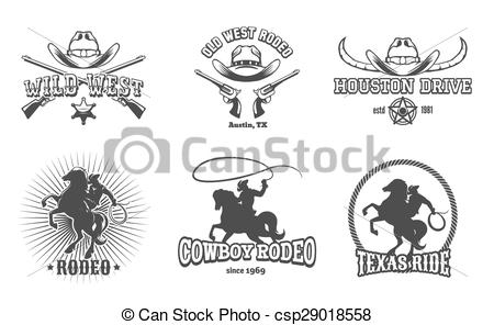 Wild West clipart rodeo Labels Vector of Cowboy Wild