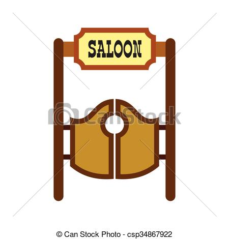 Wild West clipart saloon door Styled Western icon Cartoon western