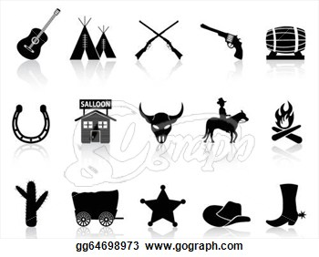 Wild West clipart western theme Clip black & silhouette Isolated
