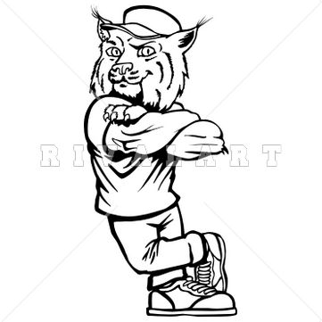 Wildcat clipart black and white Mascot Bobcat on best Graphic