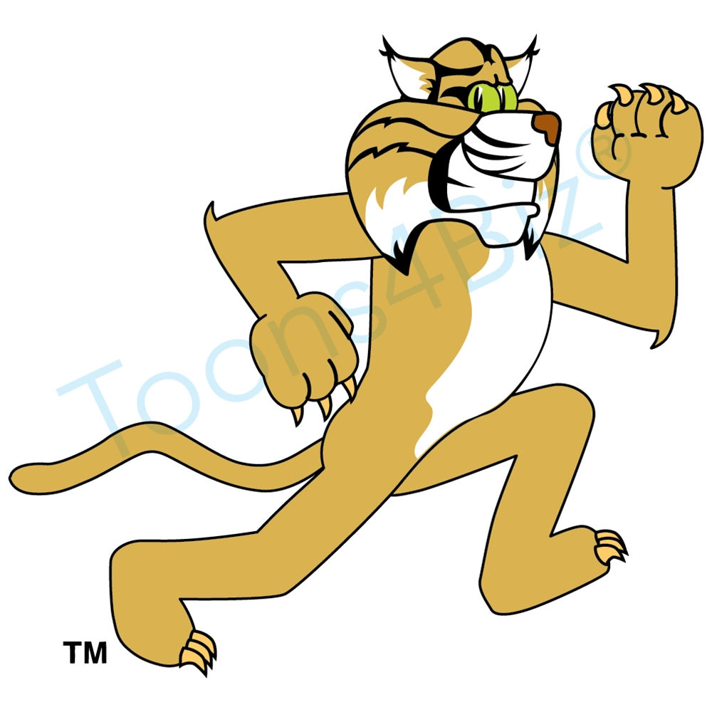 Wildcat clipart cartoon Mascot Running Art Clip Mascot