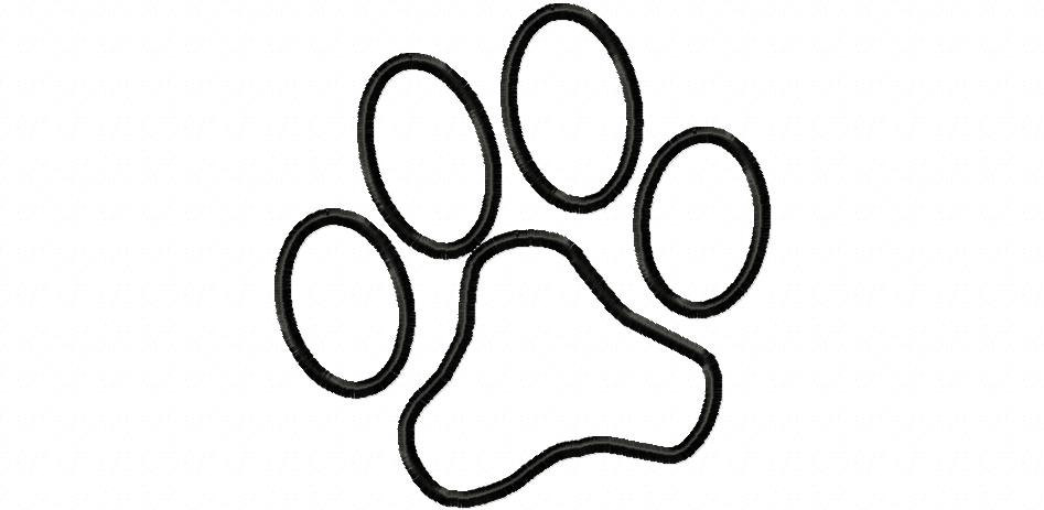 Paw clipart outline Jaguar Embroidery Paw Free Machine