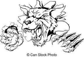 Wildcat clipart ripped Ripping through Wildcat through Vector