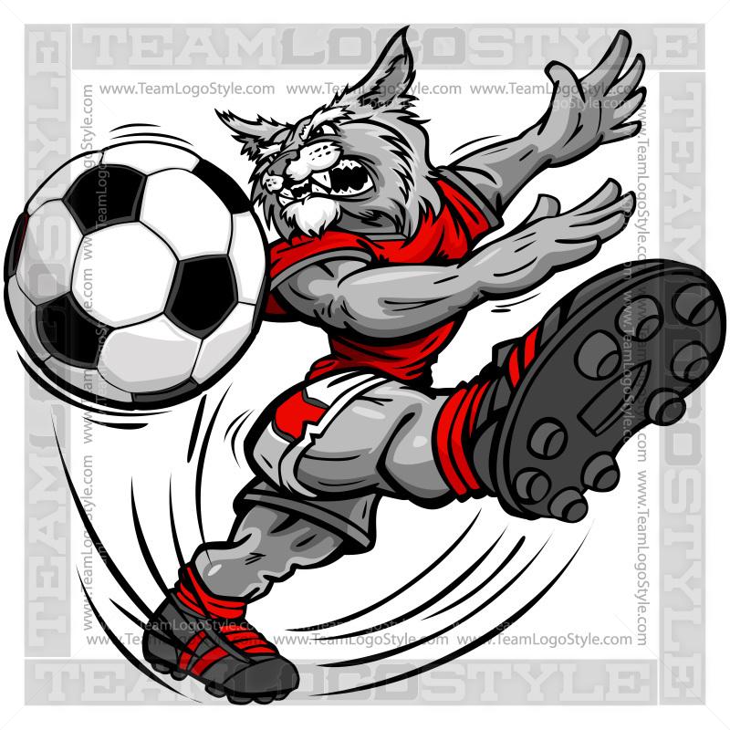 Wildcat clipart soccer  Vector Soccer Cartoon Wildcat