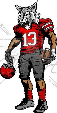 Wildcat clipart sport Wildcat Football Player holding art