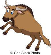 Wildebeest clipart Vector wildebeest Clipart Cartoon illustration