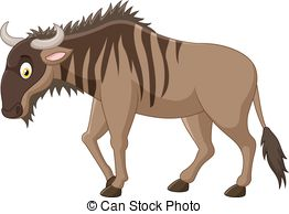 Wildebeest clipart EPS cartoon  Wildebeest wildebeest