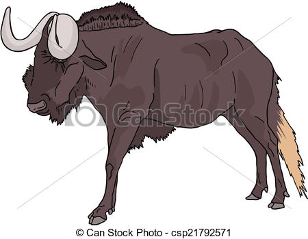 Wildebeest clipart black and white EPS clip Vector of 176