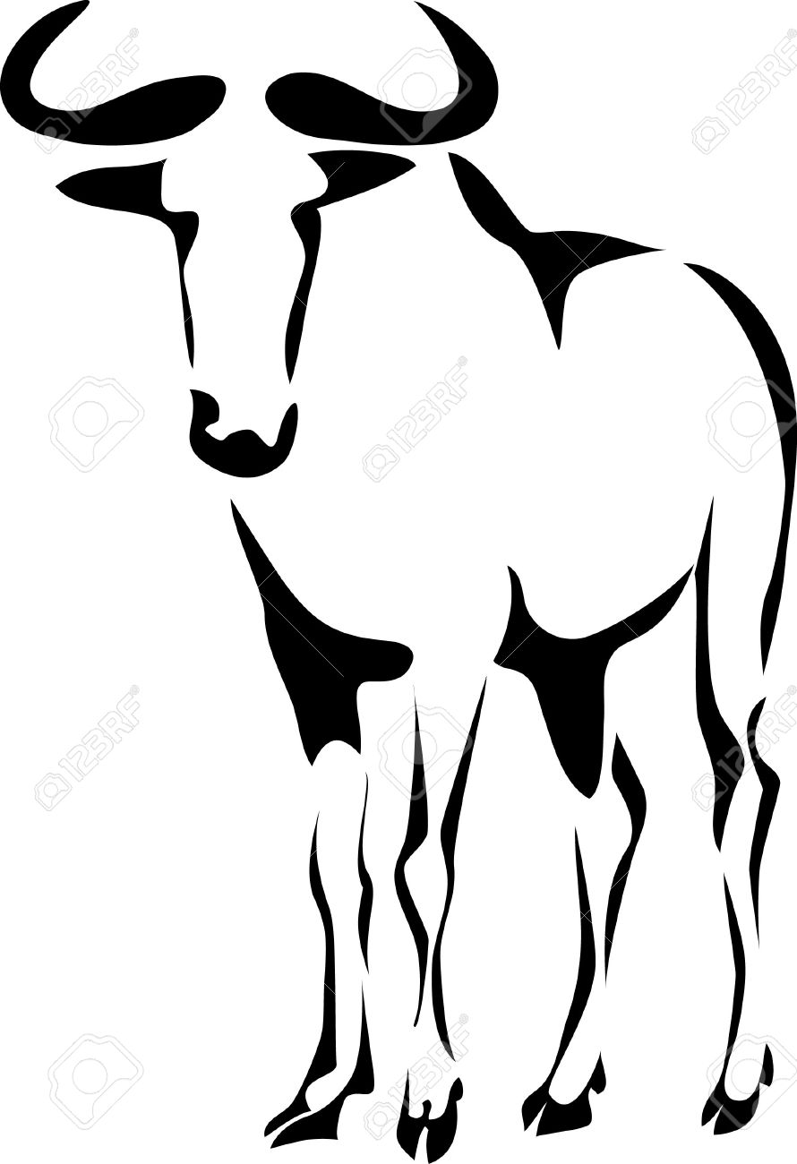 Wildebeest clipart black and white  free gnu Wildebeest clipart