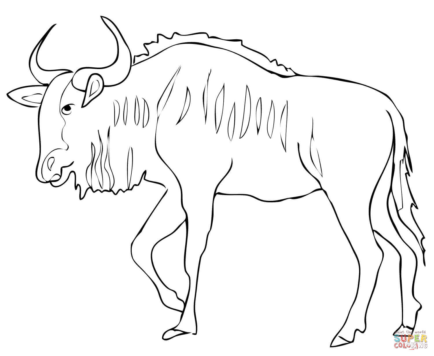 Wildebeest clipart black and white Printable Black  page Coloring