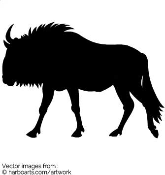 Wildebeest clipart black and white Blue drawings svg svg Wildebeest