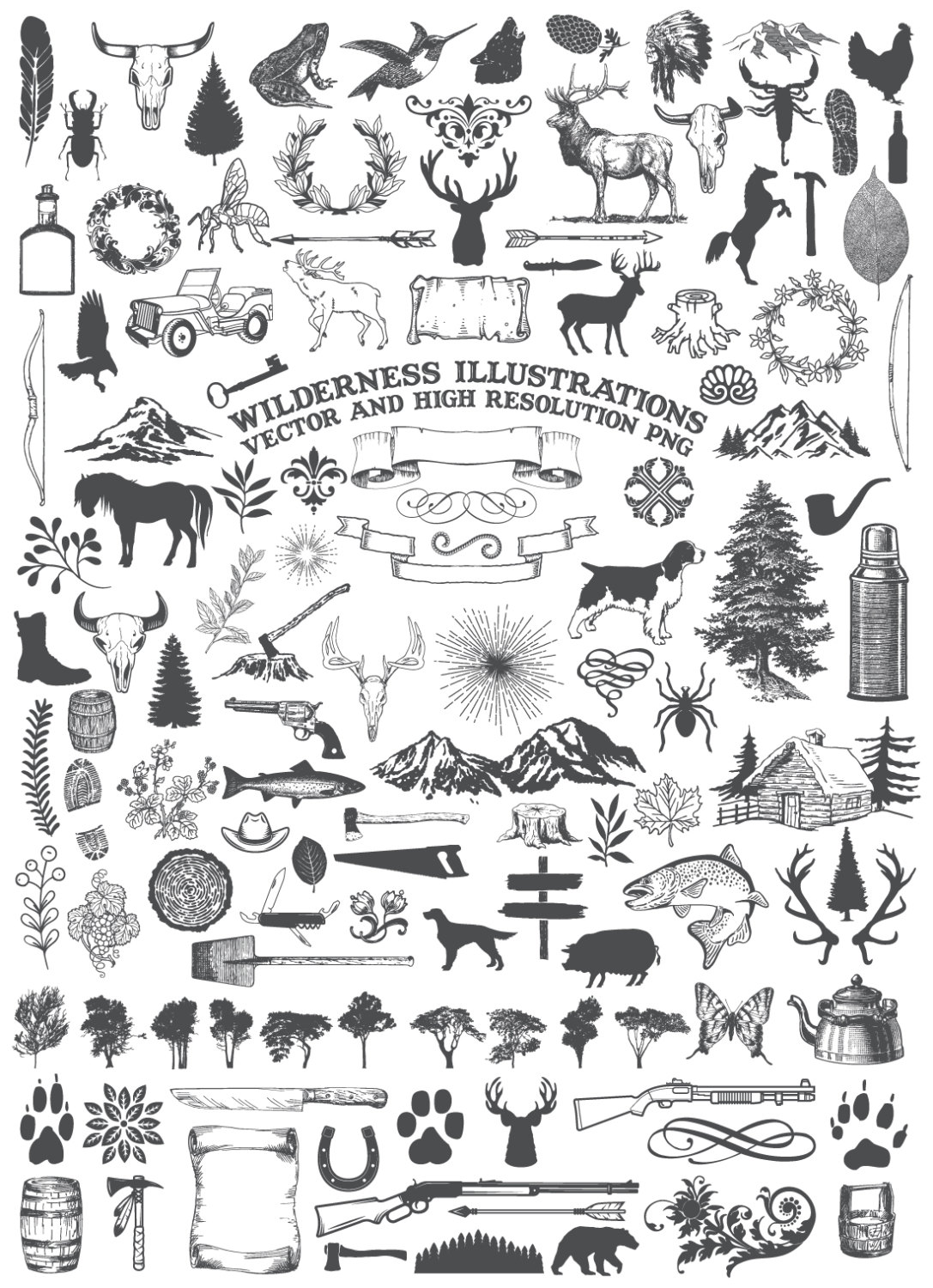Wilderness clipart animal This Rustic digital Clipart Animal