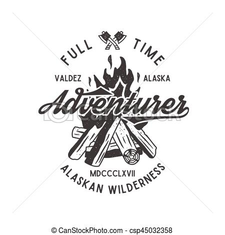Bonfire clipart wilderness Time Full wilderness label textured