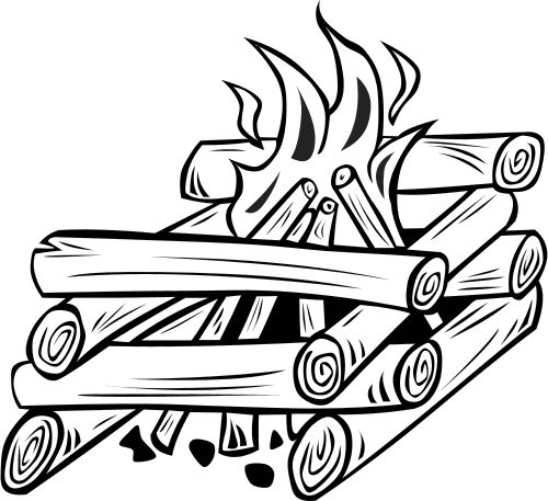 Wilderness clipart fire pit BW  Logs Pinterest Log