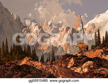 Wilderness clipart grizzly Grizzly  bear Mountain Stock