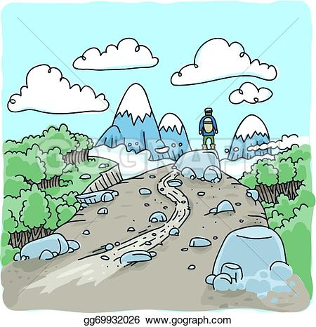 Wilderness clipart mountain view Wilderness Clip Stock hiker in