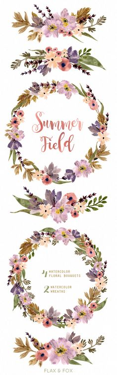 Wilderness clipart spring water Painted flowers Summer By Watercolor