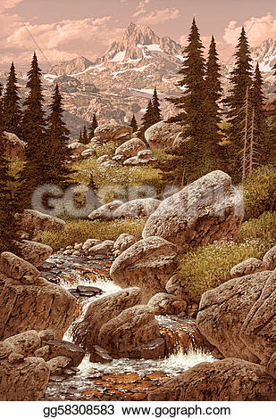 Wilderness clipart stream In  mountains a mountain