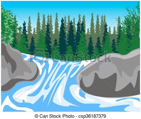 Wilderness clipart stream Timber Illustration Waterfall stream Vectors
