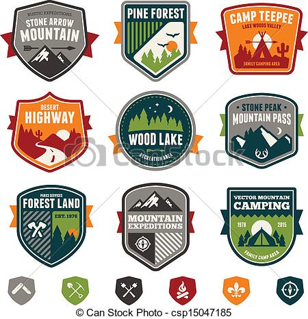 Wilderness clipart vintage camping Woods badges camp Set