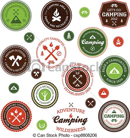 Wilderness clipart vintage camping Camping Art and Set labels