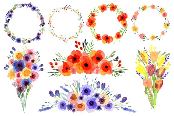 Wildflower clipart Art Wildflowers Watercolour clip on
