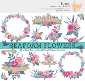 Wildflower clipart border Seafoam LUNE Clipart art clip