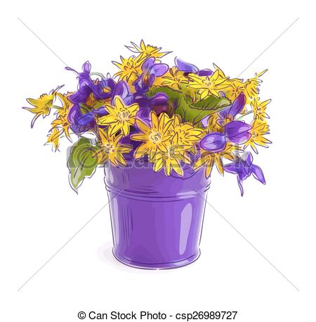 Wildflower clipart flower bucket Meadow of bouquet Vector with