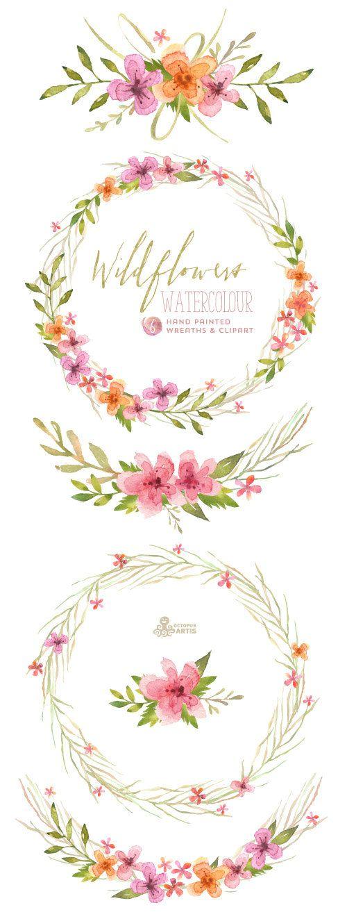 Wildflower clipart flower bucket On wreath Wreaths 754 best