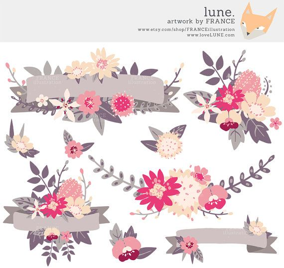 Wildflower clipart pink leaves II Bouquets Wedding Handddrawn Art