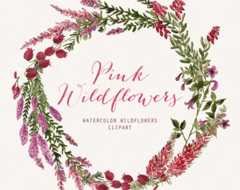 Wildflower clipart pink leaves Hand clip clipart Wildflowers wedding