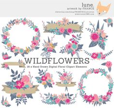 Wildflower clipart pink leaves + + Party Handdrawn Wedding