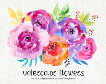 Wildflower clipart pink leaves Flowers bright watercolour Flowers Art