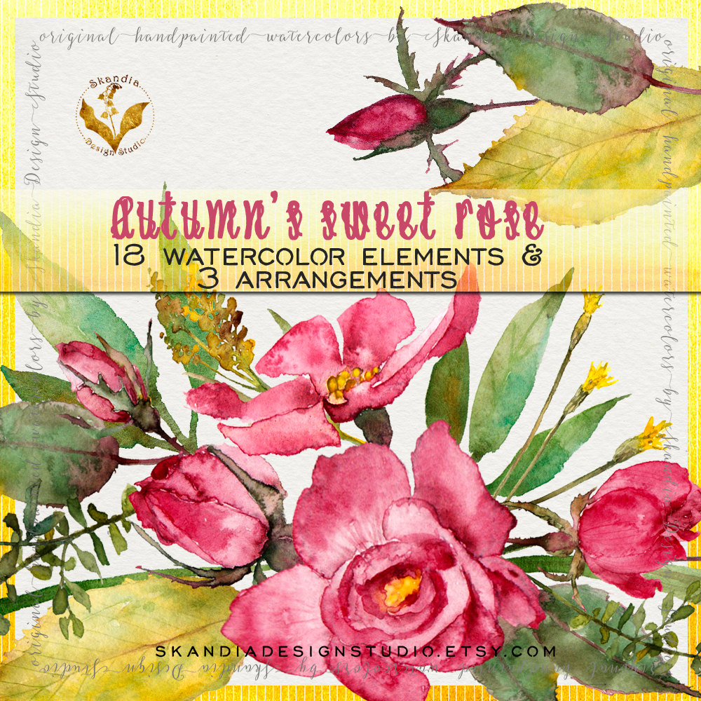 Wildflower clipart pink leaves Clipart autumn wreath clipart wild