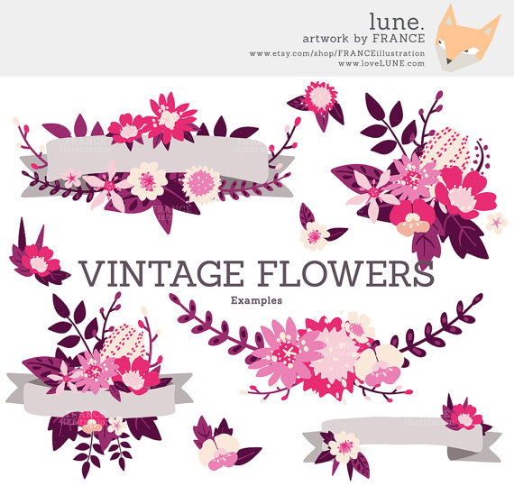 Wildflower clipart pink leaves File Purple 3 + 2